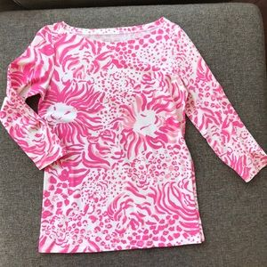 Lilly Pulitzer Pink Lion print Boatneck Top